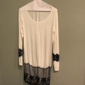 Tops - White Long Sleeve Tunic, Black Lace Detail